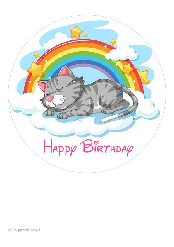 "Tortenaufleger Katze ""Happy Birthday"""