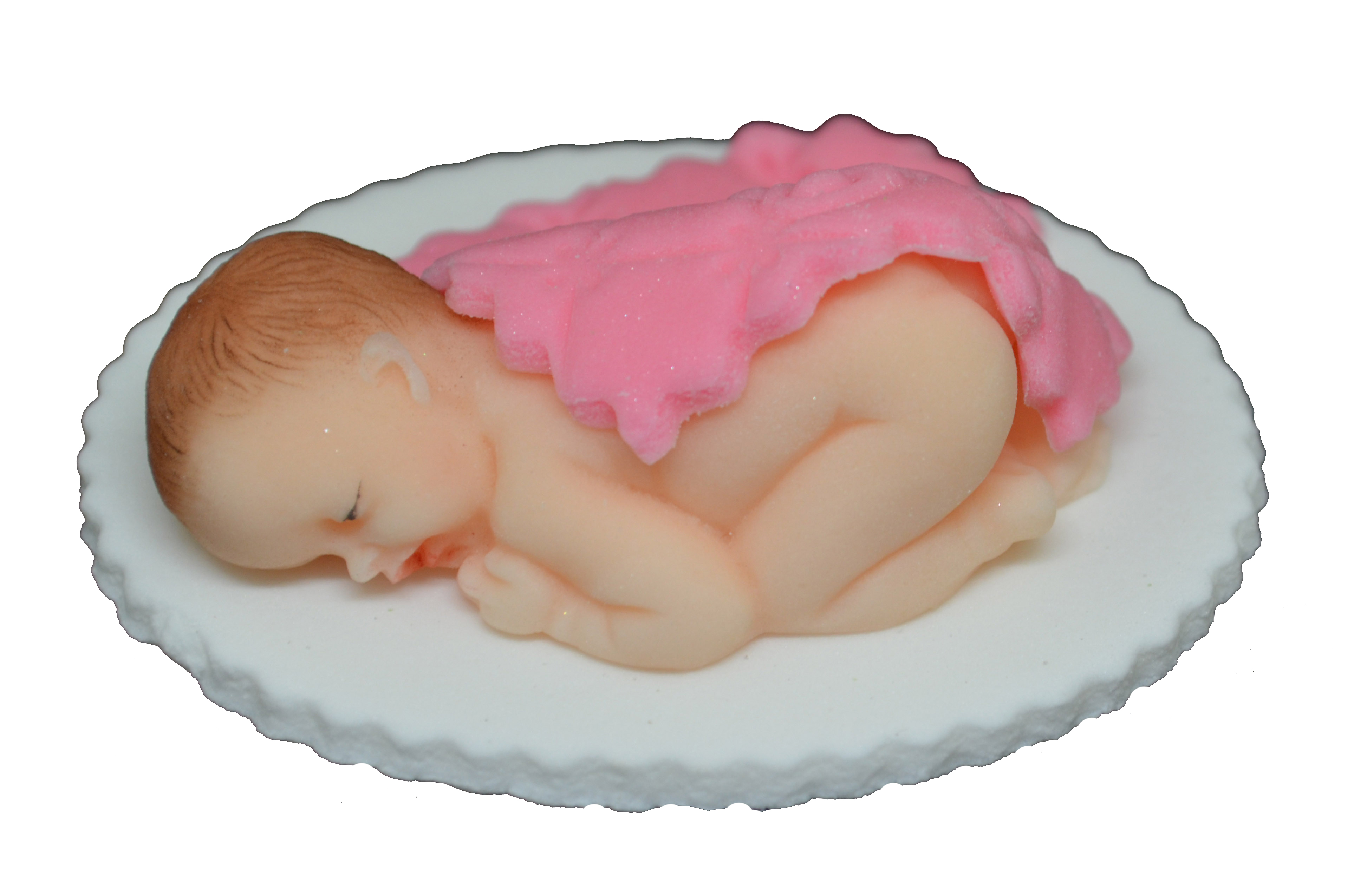 Zuckerfigur Baby mit rosa Deckchen