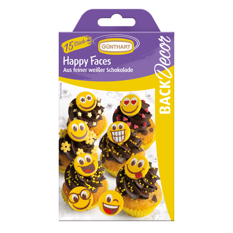 Happy Faces aus weißer Schokolade 15 Stk.