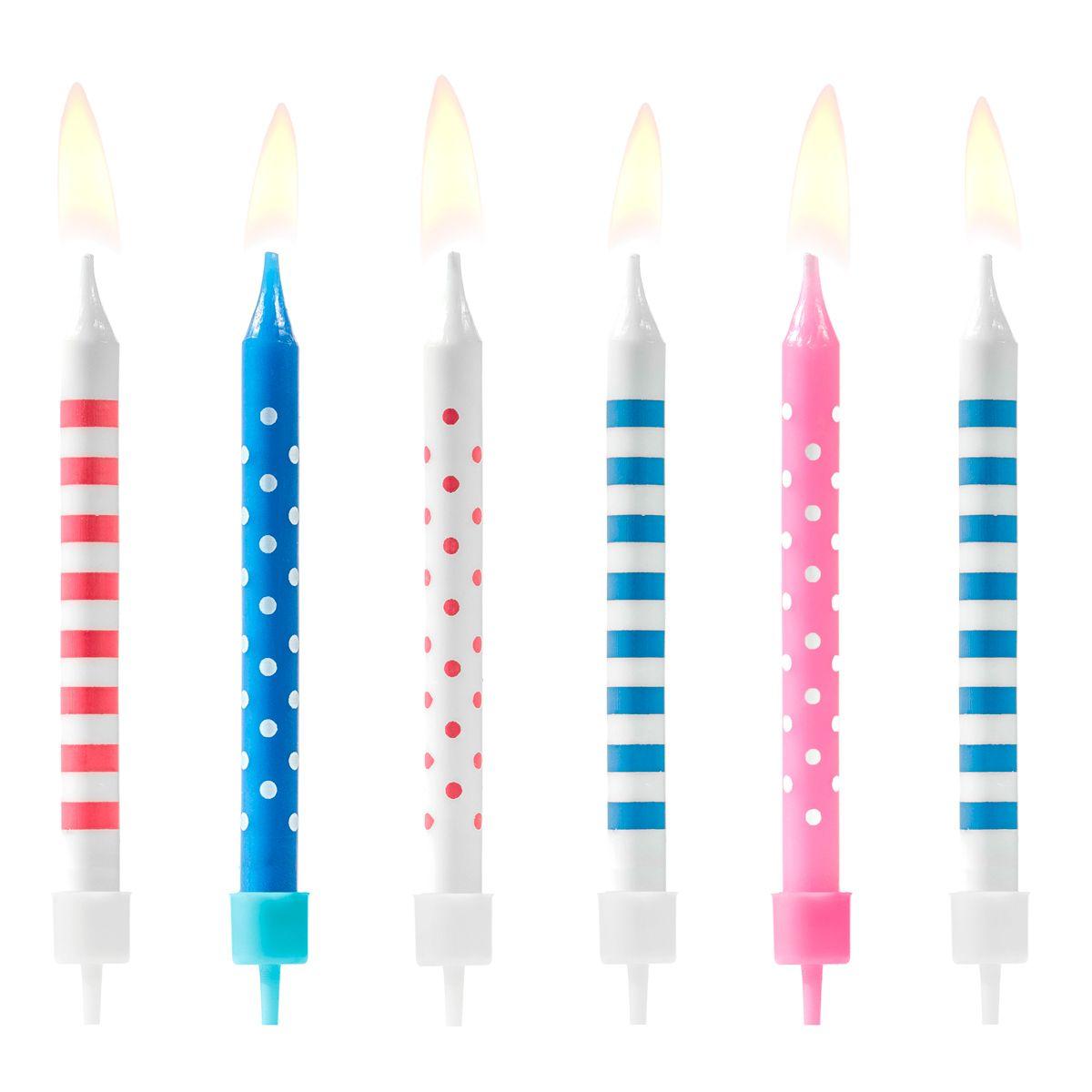 Kerzen Punkte & Streifen blau/rosa