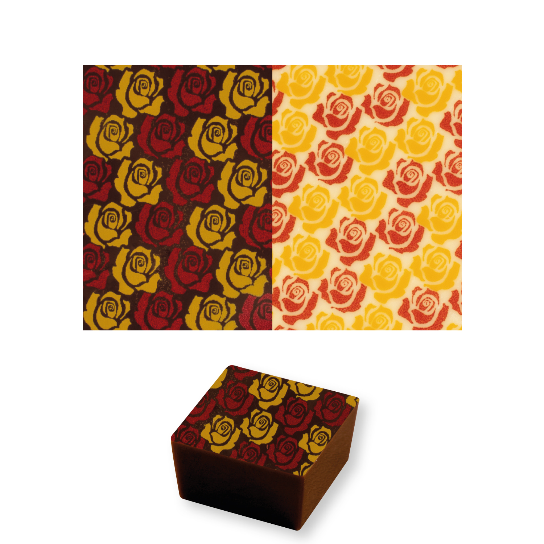 Schokoladen Transferfolie Rosen gold/rot