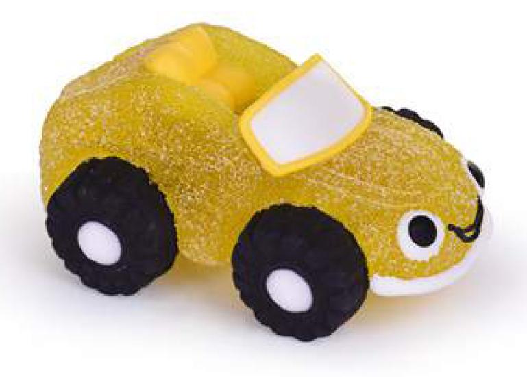 Auto/Fahrzeug gelb aus Gelee und Zucker