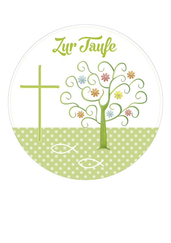 """Tortenaufleger """"Zur Taufe"""" grün"""