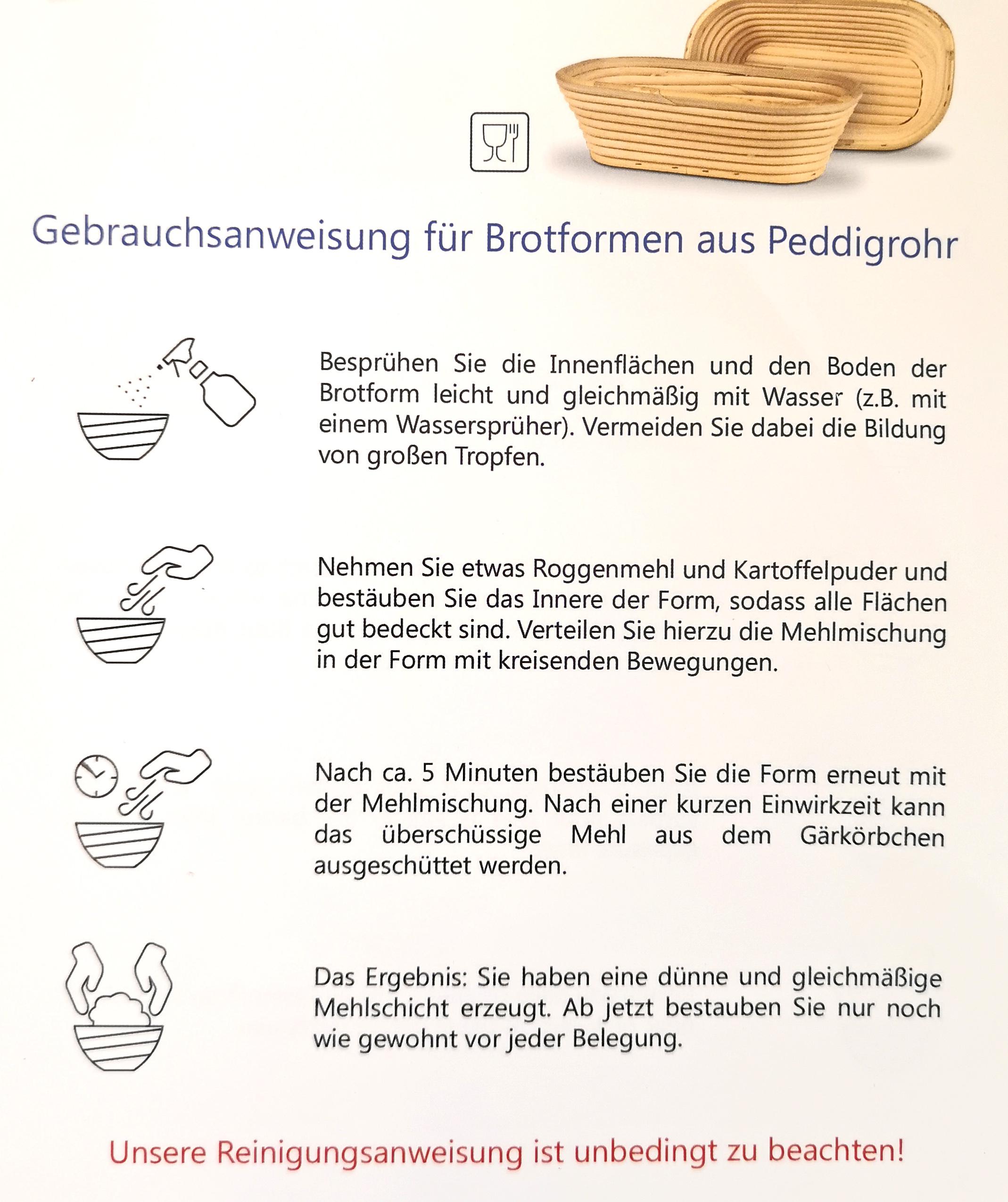 Gärkörbchen Rund mit Motiv SONNE (1000 g)