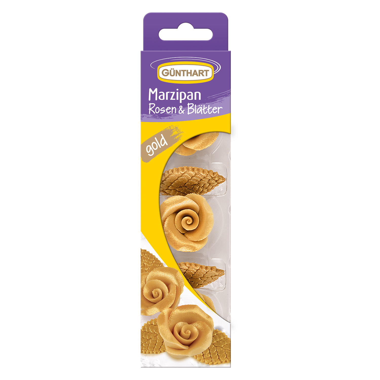 Marzipan Rosen Gold mit Blätter