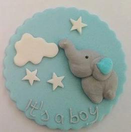 """Fondantaufleger """"Baby"""" mit Elefant grau/blau"""