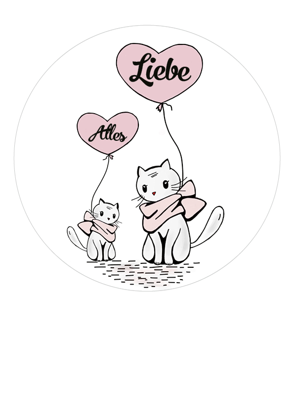 "Tortenaufleger Katzen ""Alles Liebe"""