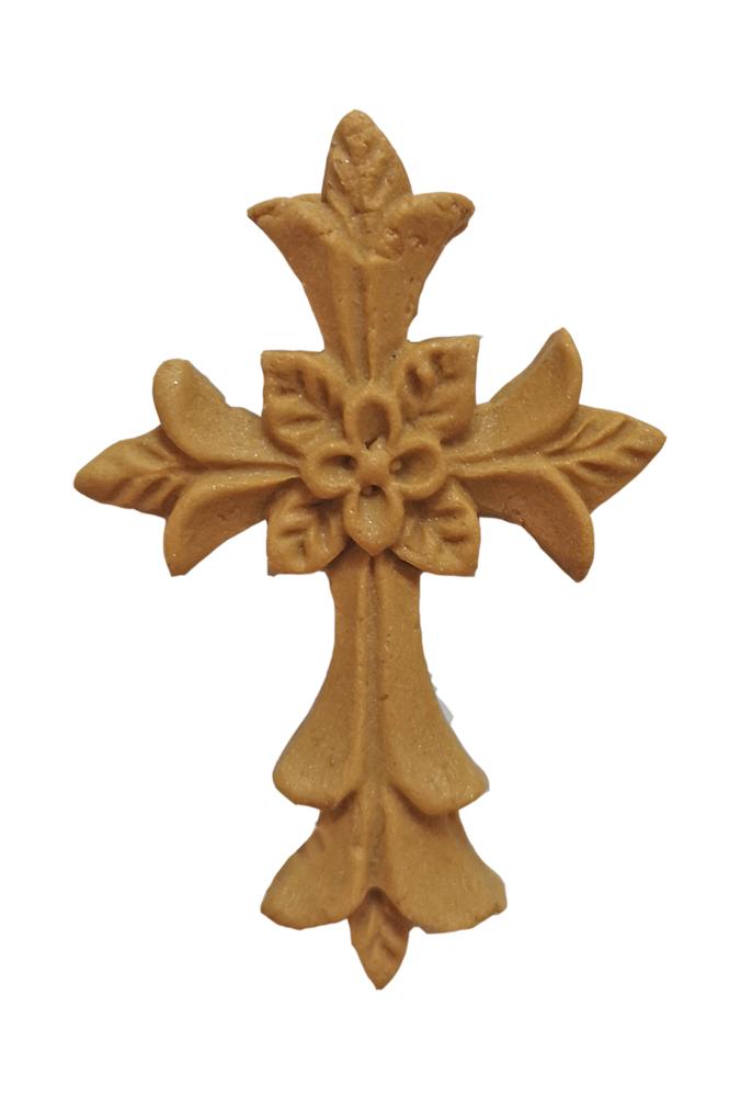 Zuckerdekoration Kreuz gold