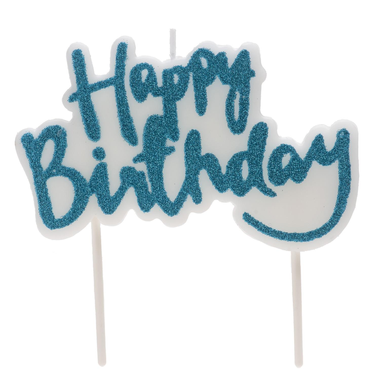 "Geburtstagskerze ""Happy Birthday"" blau"