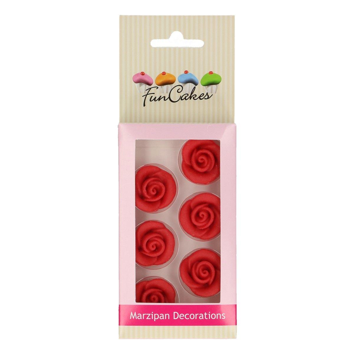 Marzipan Dekorationen Rote Rosen Set 6-teilig