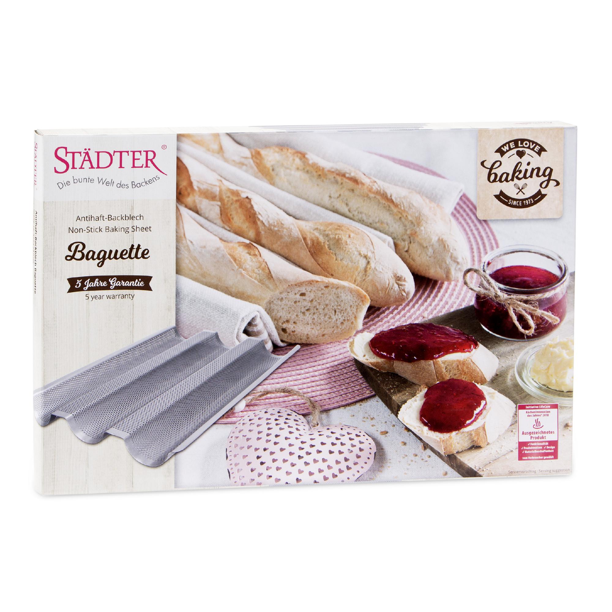 we love baking Baguette Metall Silber 37x24 cm