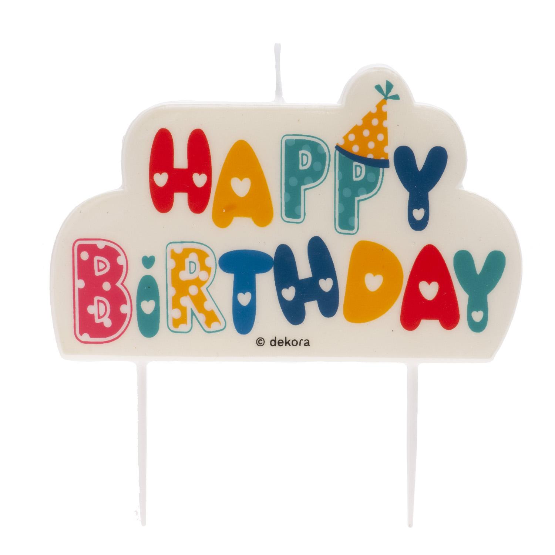 """Geburtstagskerze """"Happy Birthday"""" bunt"""