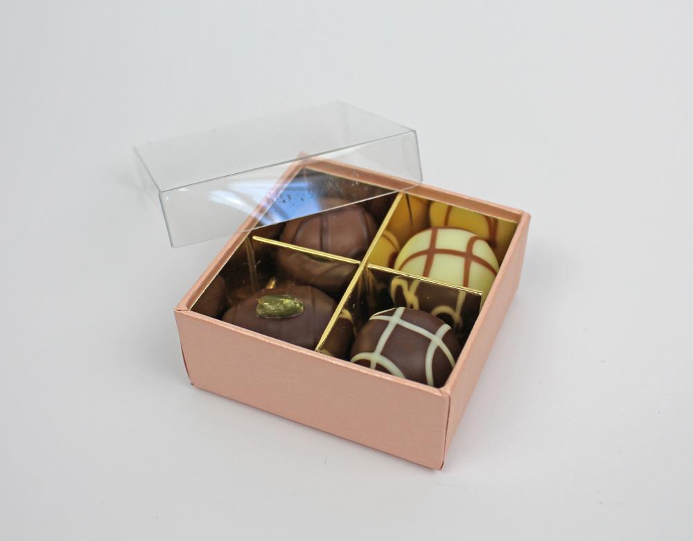 Pralinen Schachtel rosé 4er mit Klarsichtdeckel