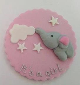 "Fondantaufleger ""It's a girl"" mit Elefant rosa/grau"