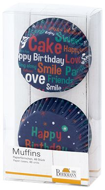"Cupcakeförmchen ""Happy Birthday"" blau I Ø 7 cm"