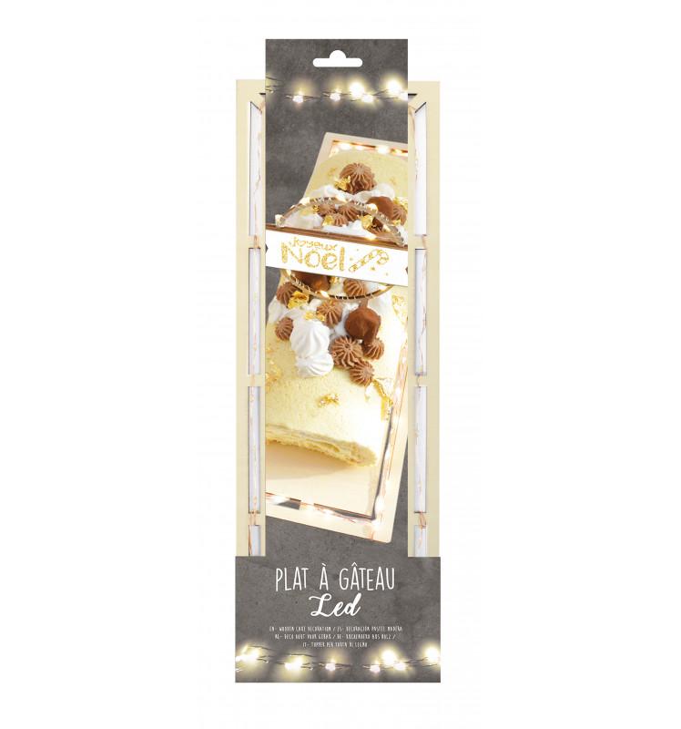 Tortenplatte mit Spitze rechteckig Holz mit LED Beleuchtung