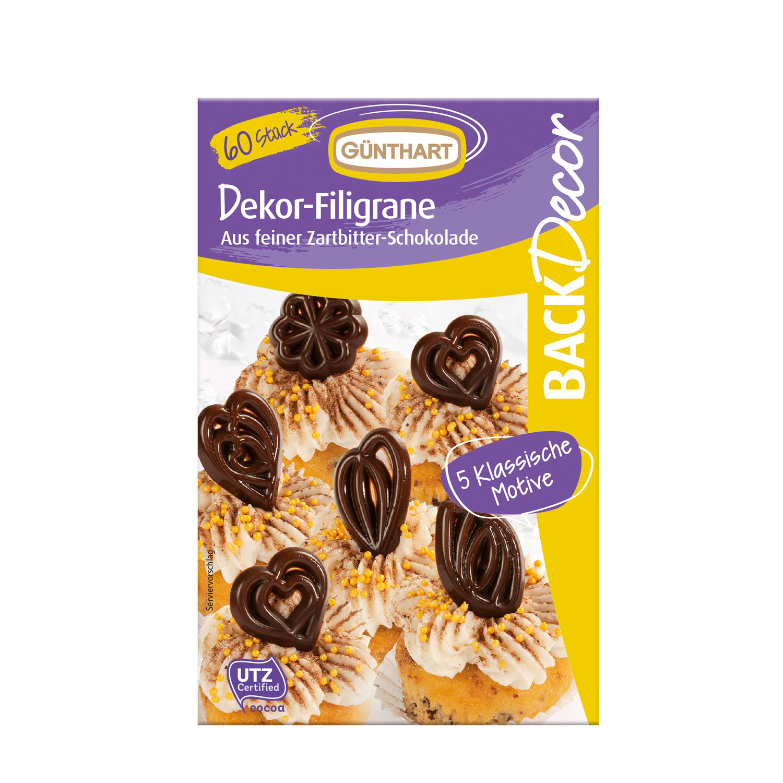 Filigran-Ornamente, Schokolade 60 Stk.