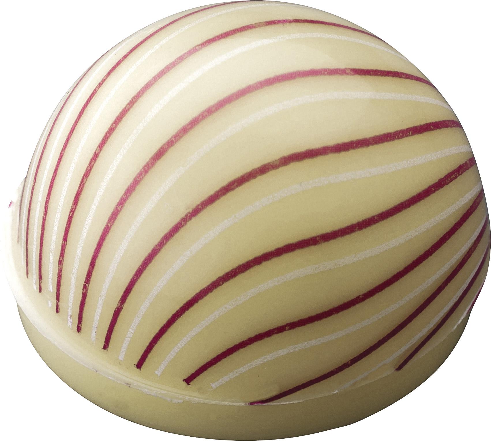 Pralinen Hohlkörper Kuppel mit Dekor Linien | Weiße Schokolade