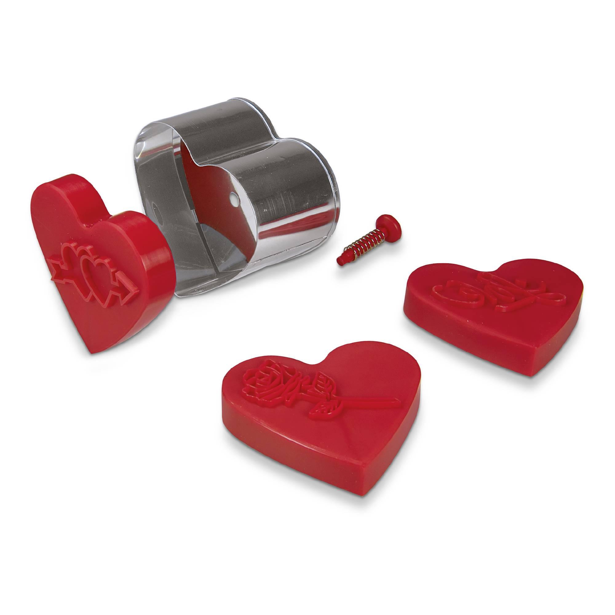 Präge Ausstecher mit Auswerfer Herz 5 teilig mit Wechselmotiv