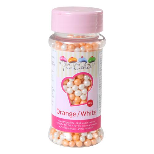FunCakes weiche Perlen orange/weiß