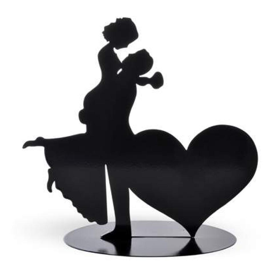 Cake Topper Brautpaar mit Herz aus Metall
