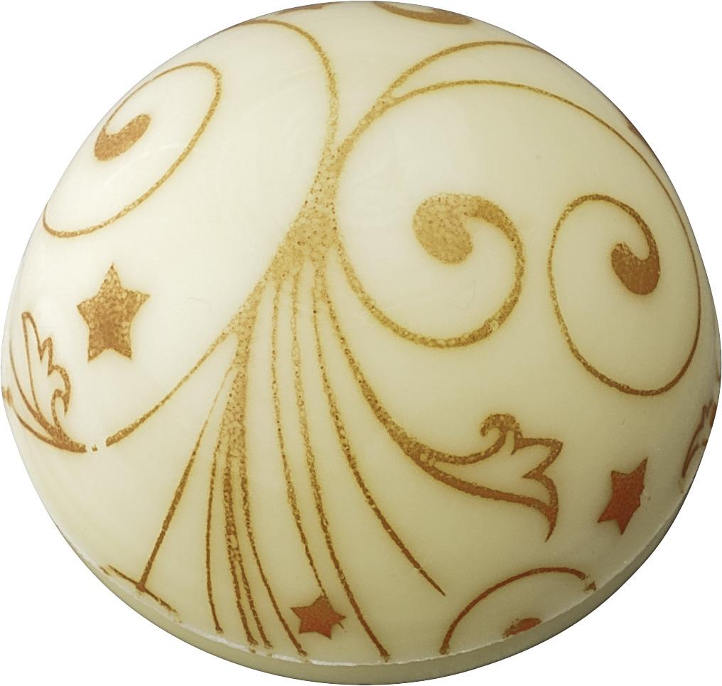 Pralinen Hohlkörper Kuppel mit Dekor Ornament | Weiße Schokolade