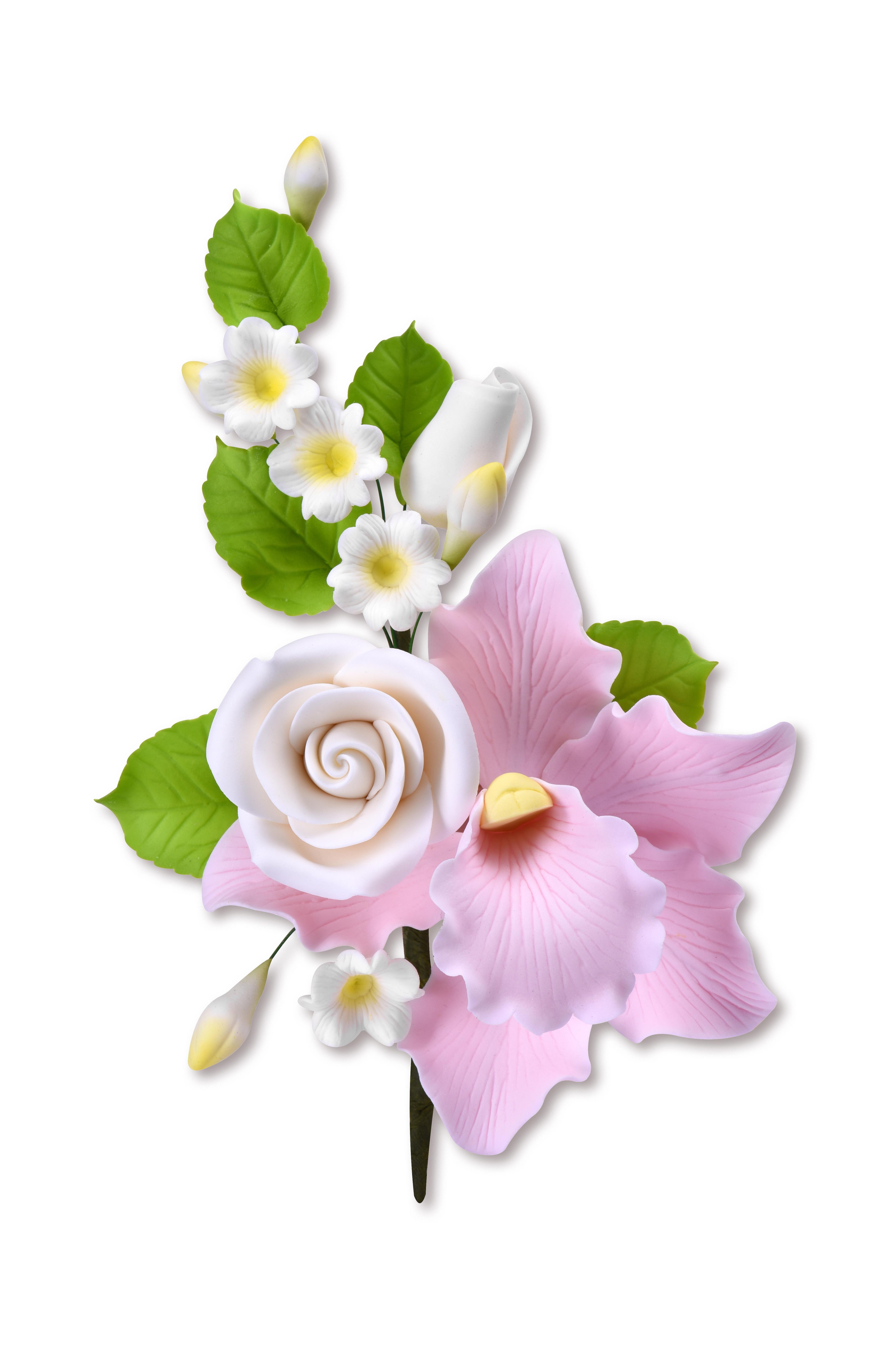 Zucker Orchidee rosa mit Zweig & weiße Blumen