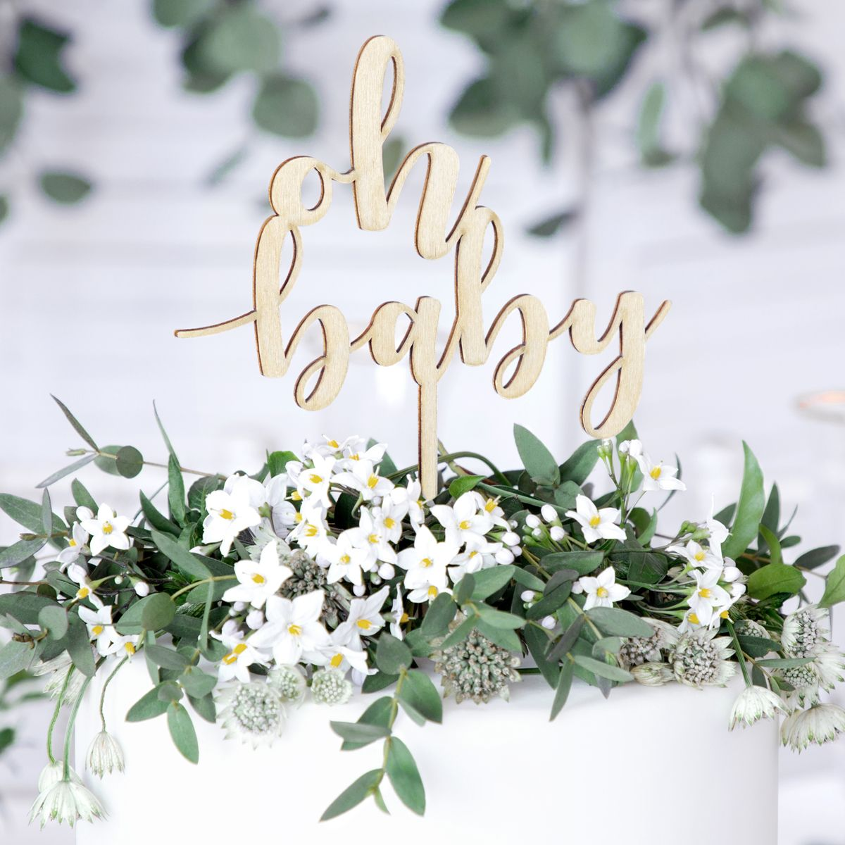 Cake Topper Oh Baby Holz