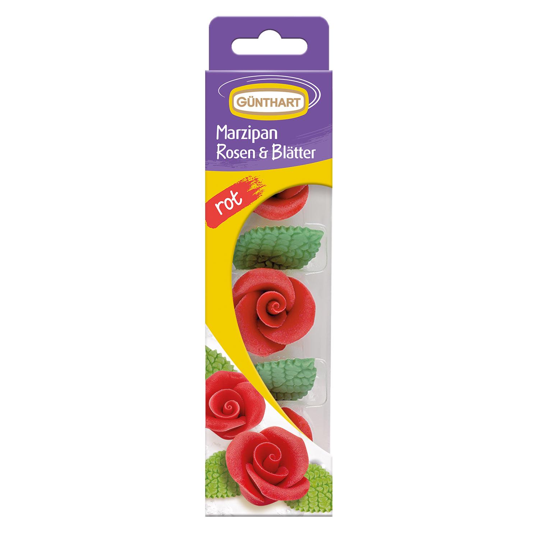 Rosen rot mit Blättern