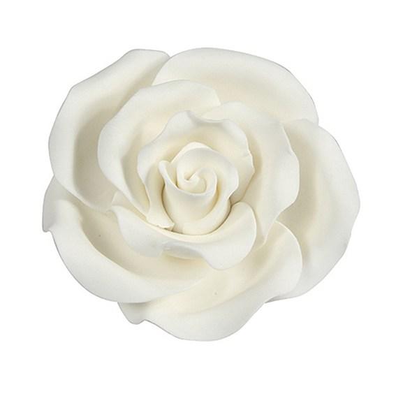 Rose weiß handgemacht - 50 mm
