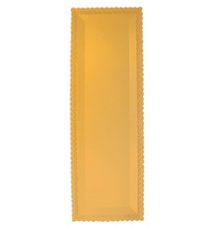 Tortenplatte mit Spitze rechteckig gold