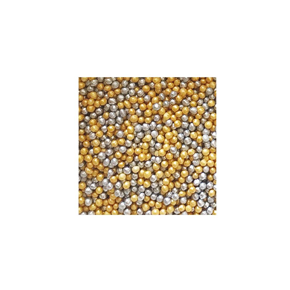 Nonpareils Miniperlen - Gold Silber 100 g