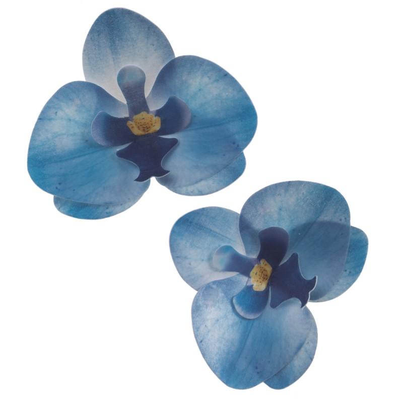 Blumen Orchidee blau Oblate   2 Stk.