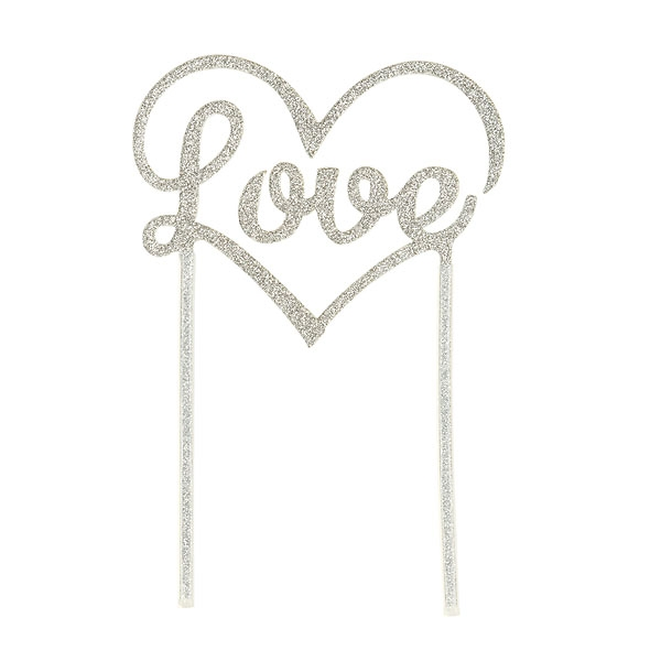 Cake Topper - Love Herz silber