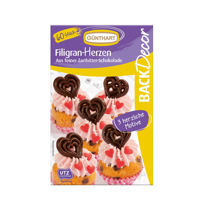 Filigran-Herzen, Schokolade