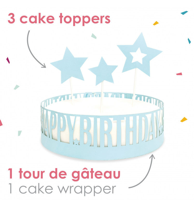 Tortenumrandung Happy Birthday  + Cake Topper Sterne | 4-tlg.