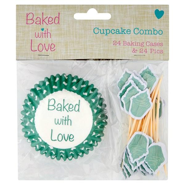 Cupcake Förmchen Set baked with love - 48 Teile