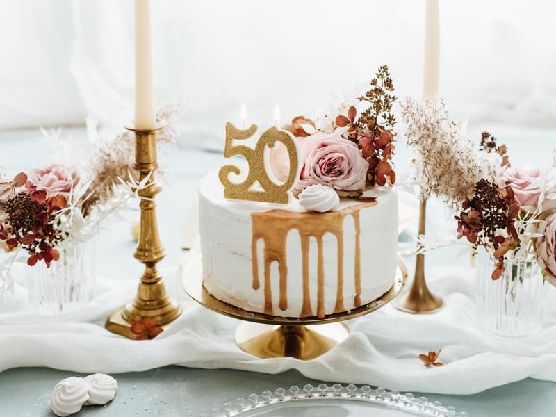 Kerze gold Zahl 60