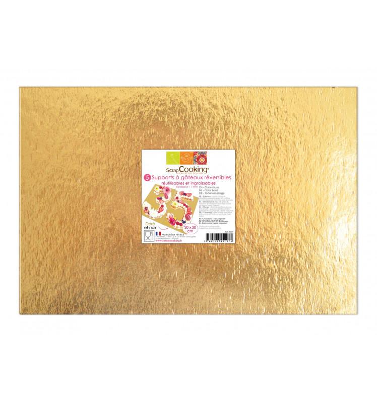 Tortenplatten-Set schwarz/gold 20 x 30 cm 5er Set