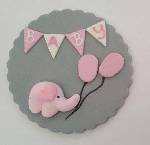 "Fondantaufleger ""Baby"" mit Elefant grau/rosa"